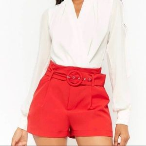 • Forever 21 • Red Belted High Waist Shorts